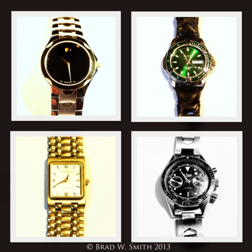 2 x 2 arrangement of 4 separate images of men's wrist watch faces.