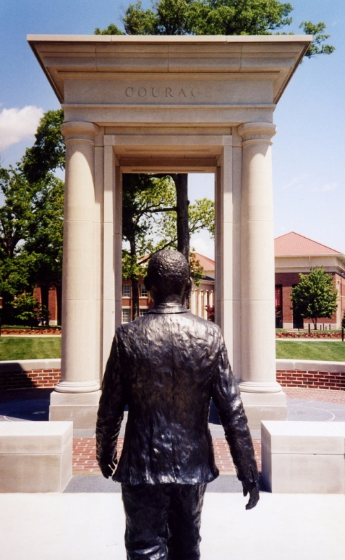 Statue of James Meredith on the campus of Mississippi University. Meredith enrolled in Ole Miss after a US Supreme Court ruling enforced desegregation there. Photo courtesy of Creative Commons.